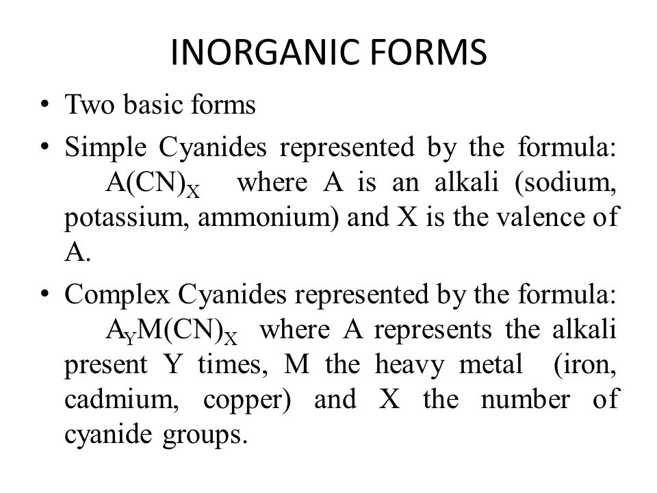 ORGANIC FORMS Organic compounds that have a cyanide functional group are called NITRILES An example of a nitrile is CH 3 CN, acetonitrile (ethanenitrile per IUPAC), also known as methyl cyanide.acetonitrileIUPACmethyl Nitriles do not release cyanide ions.