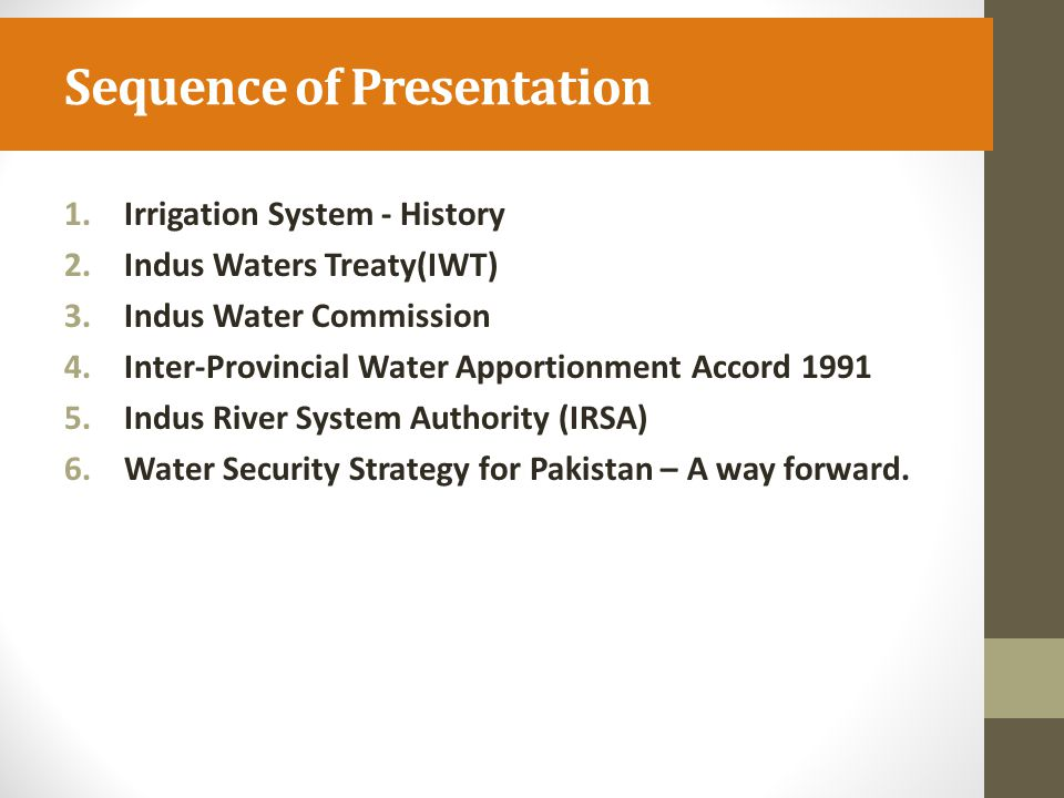 Inter-Provincial Water Apportionment Accord 1991 Since the creation of Pakistan, there have been a number of occasions when the provinces showed mutual goodwill and accommodation in resolving long-standing disputes.