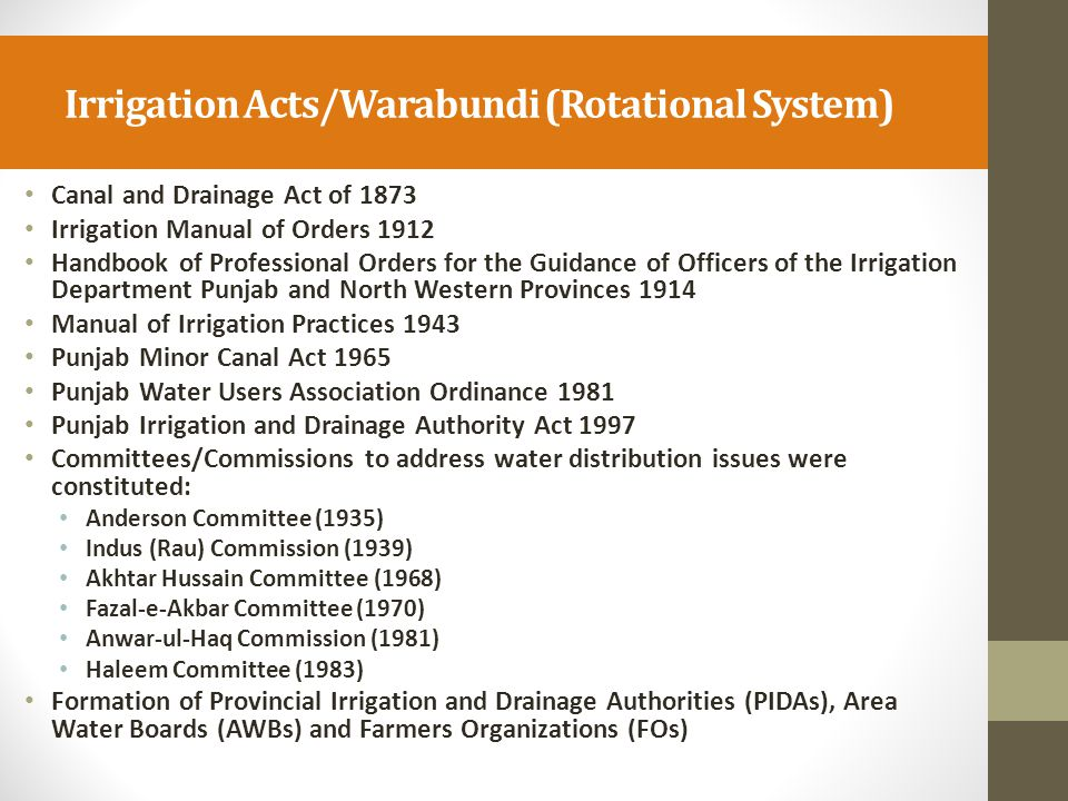 Formation of Indus River System Authority (IRSA) and its Role IRSA was created in 1992 to manage water distribution in accordance with the Inter-Provincial Water Apportionment Accord.