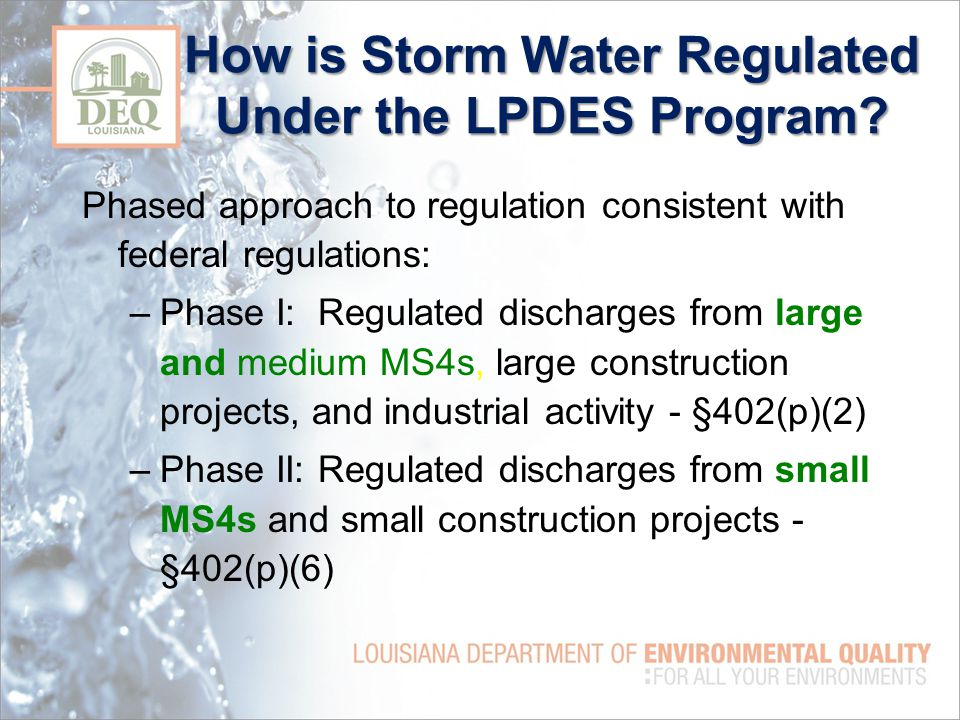 How is Storm Water Regulated Under the LPDES Program.