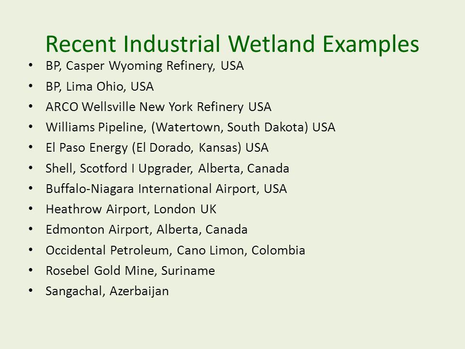 Recent Industrial Wetland Examples BP, Casper Wyoming Refinery, USA BP, Lima Ohio, USA ARCO Wellsville New York Refinery USA Williams Pipeline, (Water