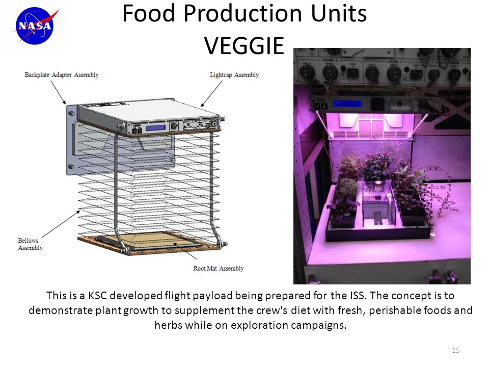 Food Production Units VEGGIE 15 This is a KSC developed flight payload being prepared for the ISS.