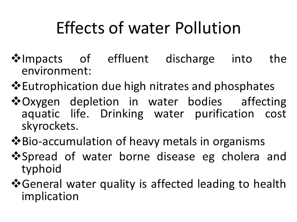 Effects of water Pollution  Impacts of effluent discharge into the environment:  Eutrophication due high nitrates and phosphates  Oxygen depletion in water bodies affecting aquatic life.