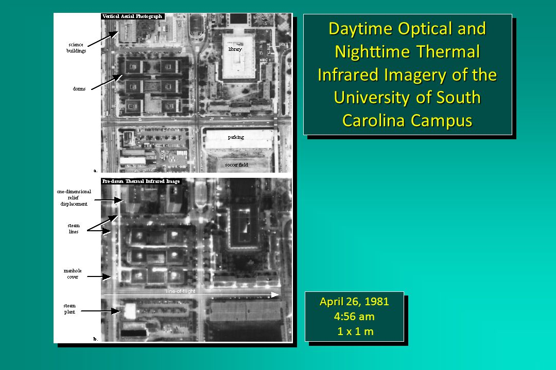 Daytime Optical and Nighttime Thermal Infrared Imagery of the University of South Carolina Campus April April 26, 1981 4:56 am 1 x 1 m April April 26, 1981 4:56 am 1 x 1 m 2x reduction