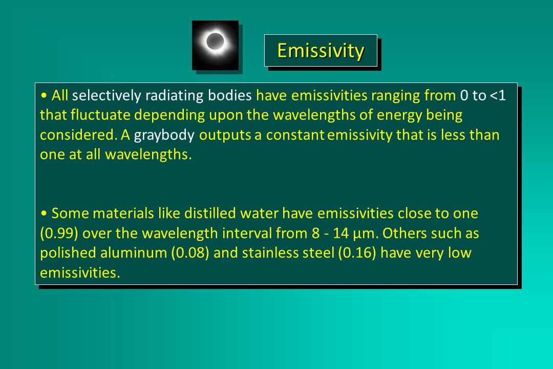 All selectively radiating bodies have emissivities ranging from 0 to <1 that fluctuate depending upon the wavelengths of energy being considered.