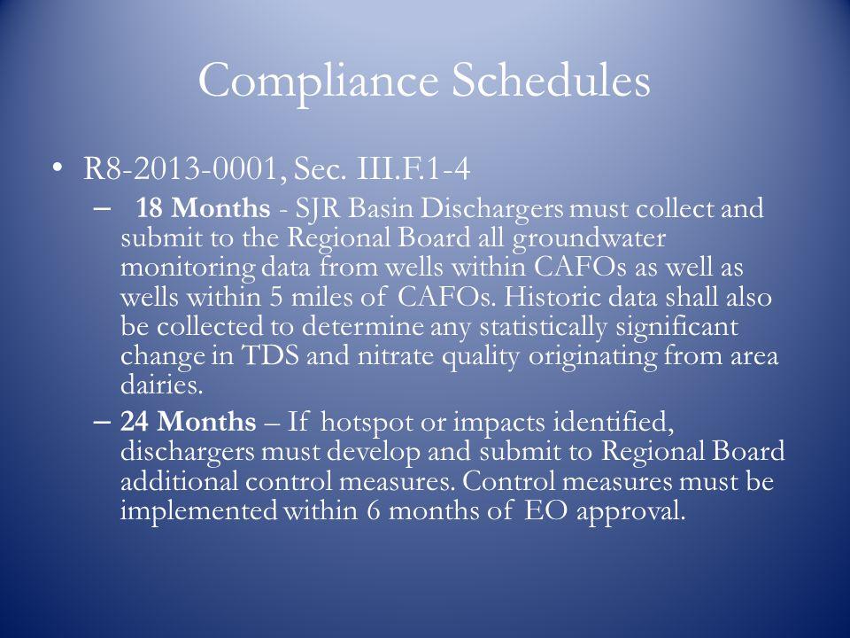 Compliance Schedules R8-2013-0001, Sec.
