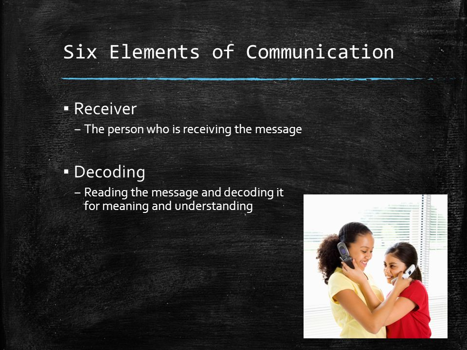 Six Elements of Communication ▪ Receiver – The person who is receiving the message ▪ Decoding – Reading the message and decoding it for meaning and understanding