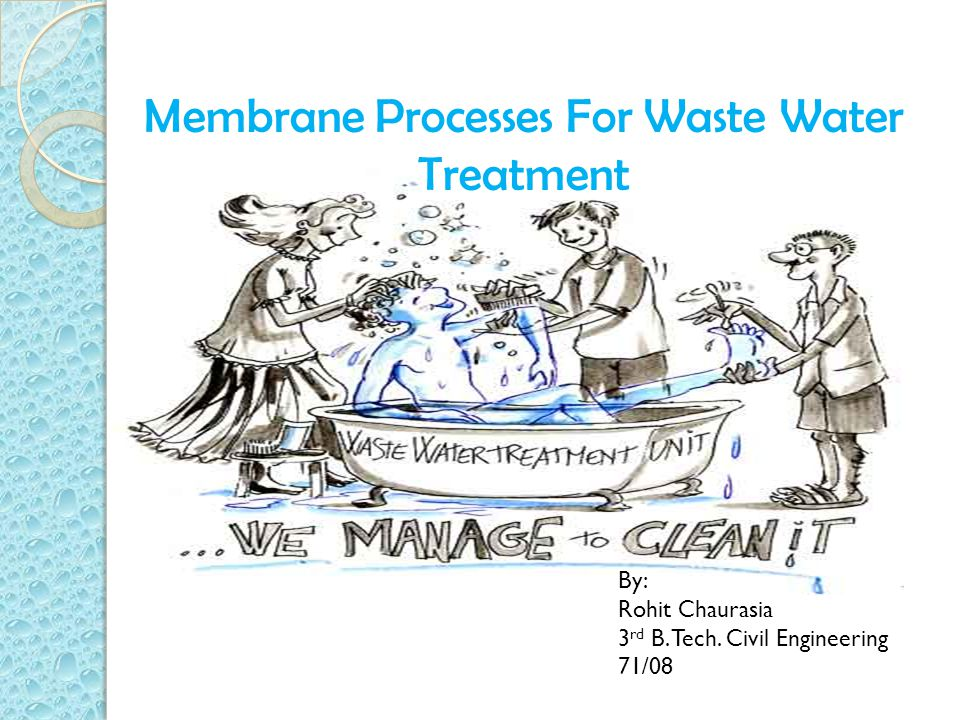 Membrane Processes For Waste Water Treatment By: Rohit Chaurasia 3 rd B. Tech. Civil Engineering 71/08