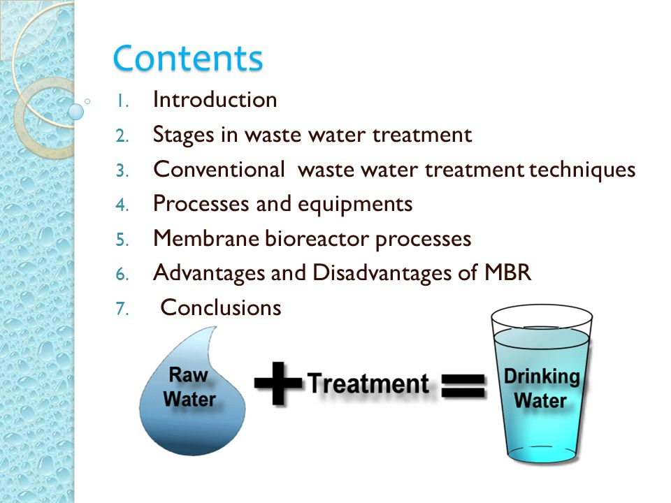 Contents 1.Introduction 2. Stages in waste water treatment 3.