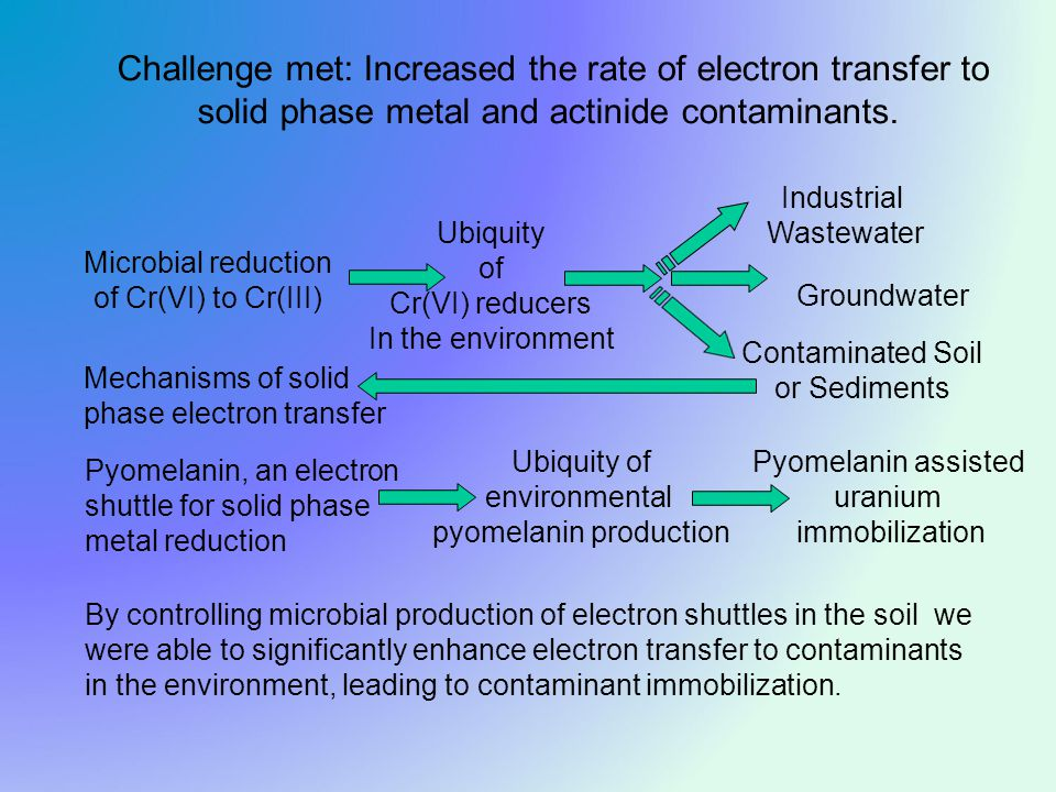 Challenge met: Increased the rate of electron transfer to solid phase metal and actinide contaminants.
