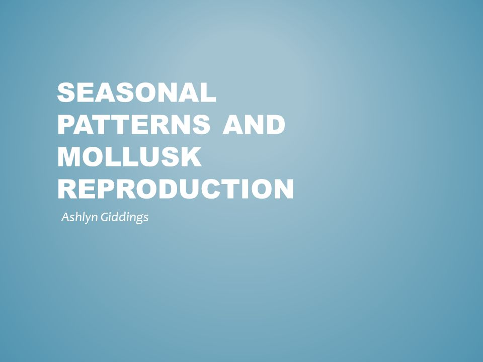 SEASONAL PATTERNS AND MOLLUSK REPRODUCTION Ashlyn Giddings