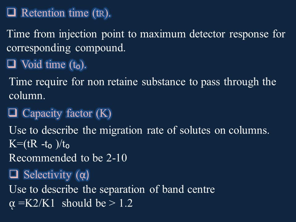 Time from injection point to maximum detector response for corresponding compound.