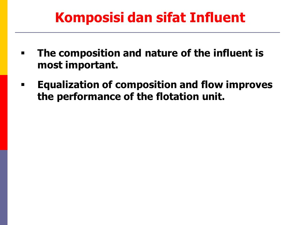 Komposisi dan sifat Influent  The composition and nature of the influent is most important.  Equalization of composition and flow improves the perfo