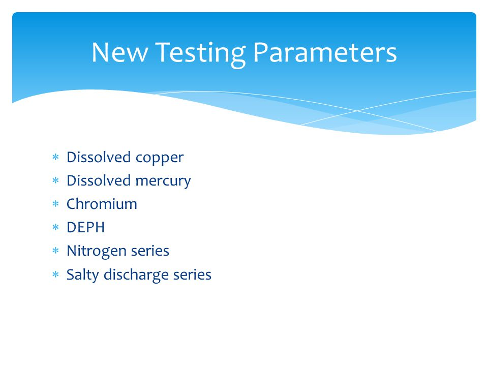  Dissolved copper  Dissolved mercury  Chromium  DEPH  Nitrogen series  Salty discharge series New Testing Parameters