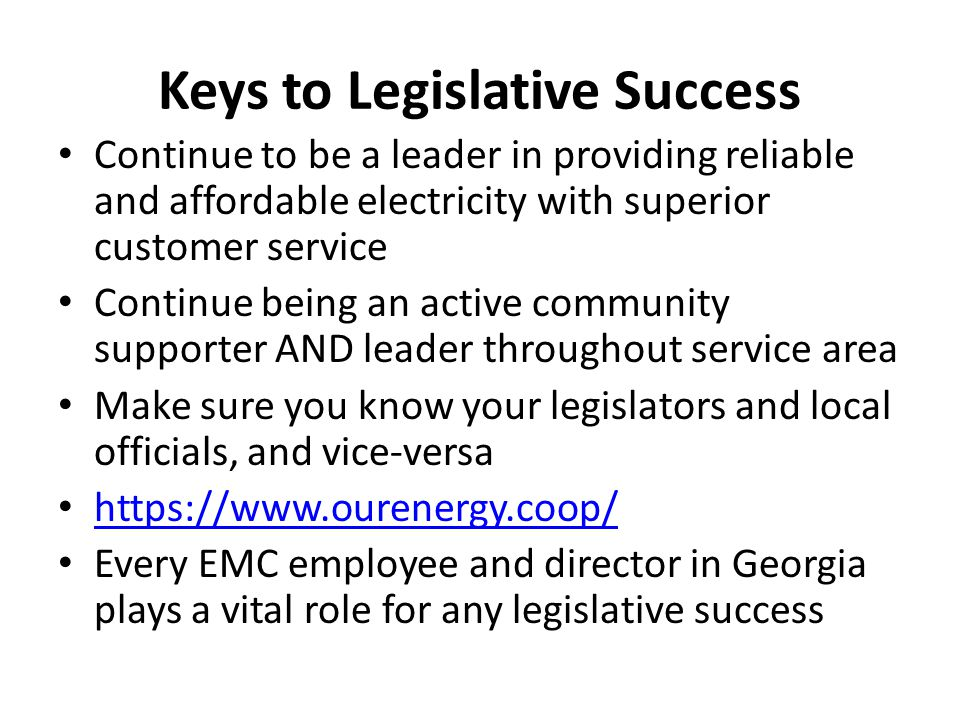 Keys to Legislative Success Continue to be a leader in providing reliable and affordable electricity with superior customer service Continue being an
