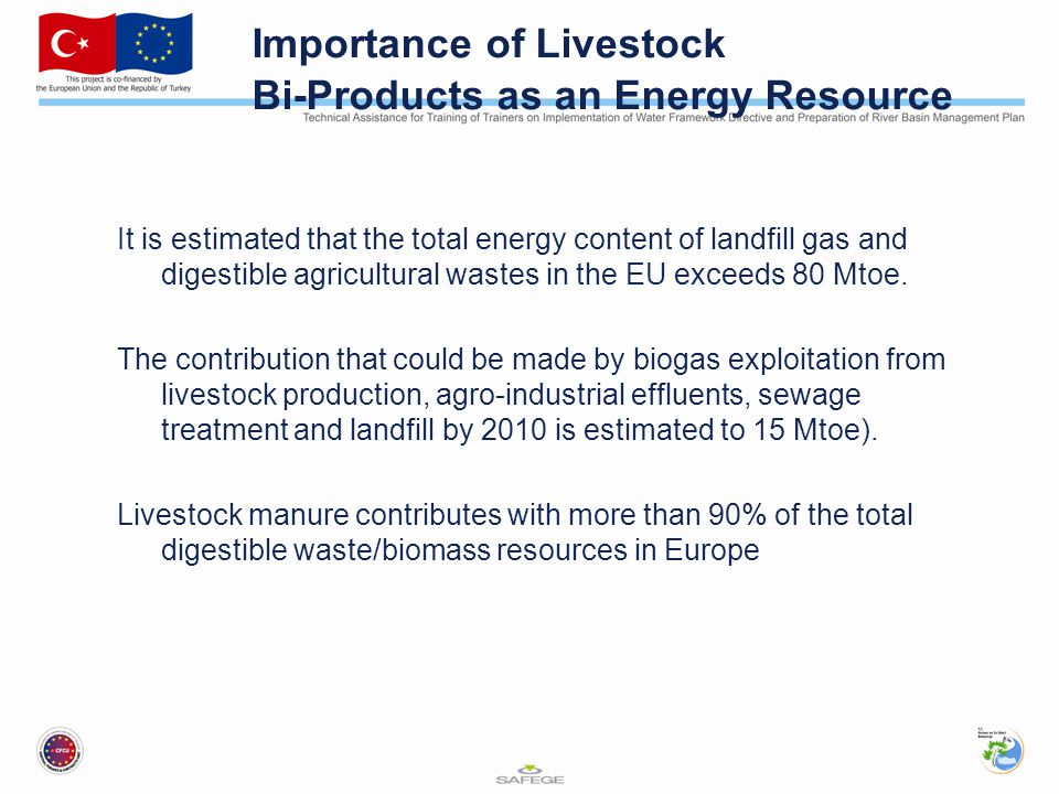 Importance of Livestock Bi-Products as an Energy Resource It is estimated that the total energy content of landfill gas and digestible agricultural wastes in the EU exceeds 80 Mtoe.