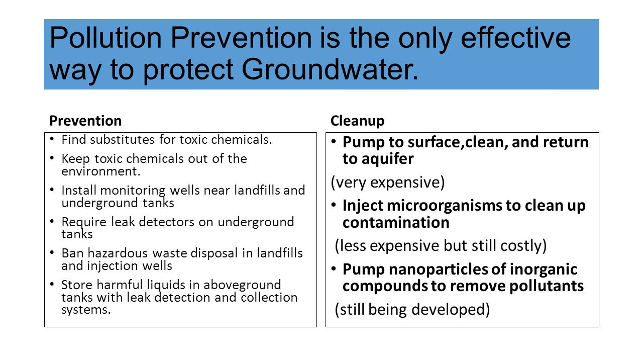 Pollution Prevention is the only effective way to protect Groundwater. Prevention Find substitutes for toxic chemicals. Keep toxic chemicals out of th