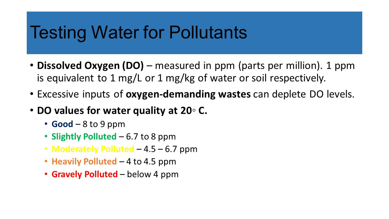 Testing Water for Pollutants Dissolved Oxygen (DO) – measured in ppm (parts per million).