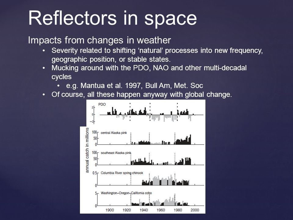 Reflectors in space Impacts from changes in weather Severity related to shifting 'natural' processes into new frequency, geographic position, or stable states.