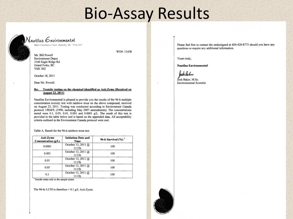 10 Bio-Assay Results