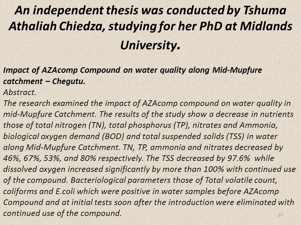 Impact of AZAcomp Compound on water quality along Mid-Mupfure catchment – Chegutu. Abstract. The research examined the impact of AZAcomp compound on w