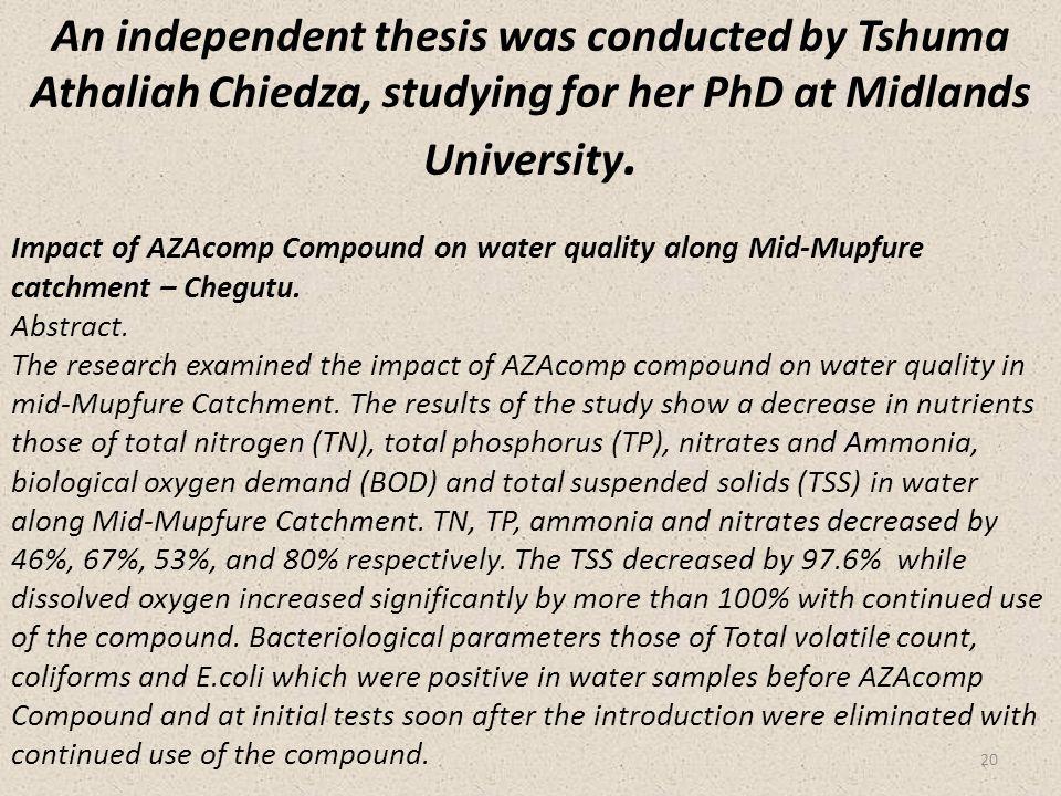 Impact of AZAcomp Compound on water quality along Mid-Mupfure catchment – Chegutu.