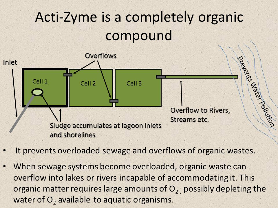 Acti-Zyme is a completely organic compound 7 Prevents Water Pollution Cell 1 Cell 2Cell 3 Inlet Overflows Overflow to Rivers, Streams etc.