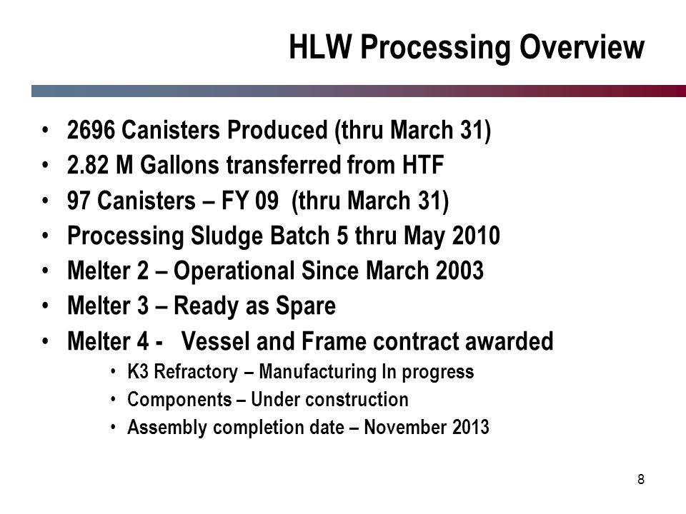 8 HLW Processing Overview 2696 Canisters Produced (thru March 31) 2.82 M Gallons transferred from HTF 97 Canisters – FY 09 (thru March 31) Processing
