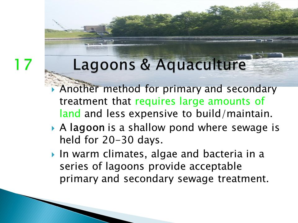  Another method for primary and secondary treatment that requires large amounts of land and less expensive to build/maintain.  A lagoon is a shallow