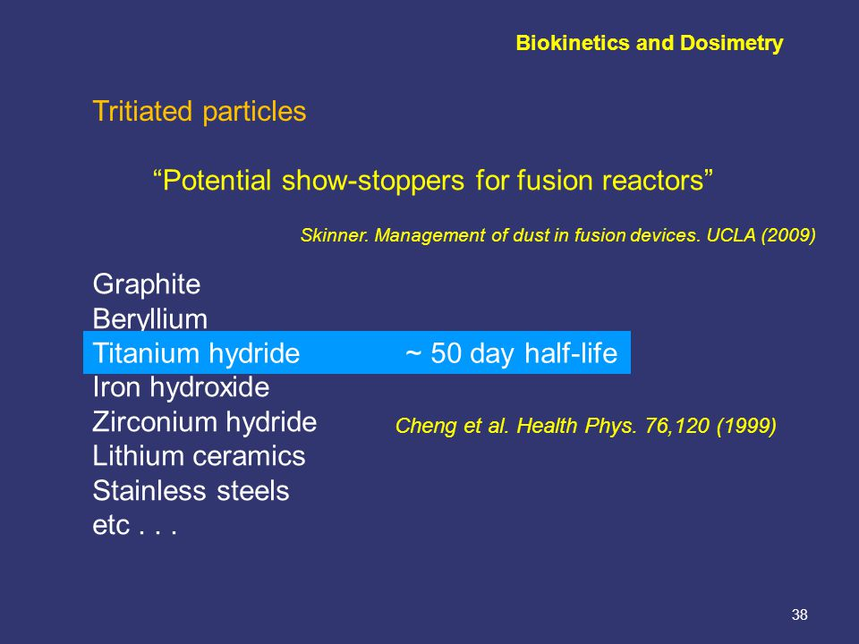 38 Tritiated particles Potential show-stoppers for fusion reactors Skinner.