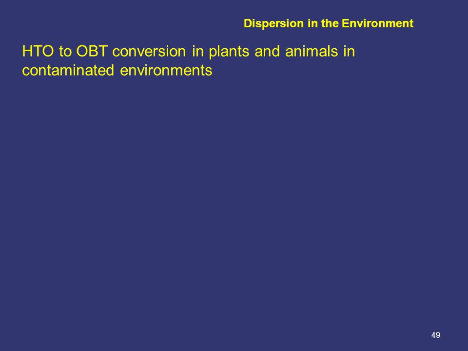 49 HTO to OBT conversion in plants and animals in contaminated environments Dispersion in the Environment