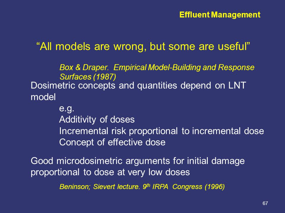 """67 Box & Draper. Empirical Model-Building and Response Surfaces (1987) """"All models are wrong, but some are useful"""" Effluent Management Dosimetric conc"""