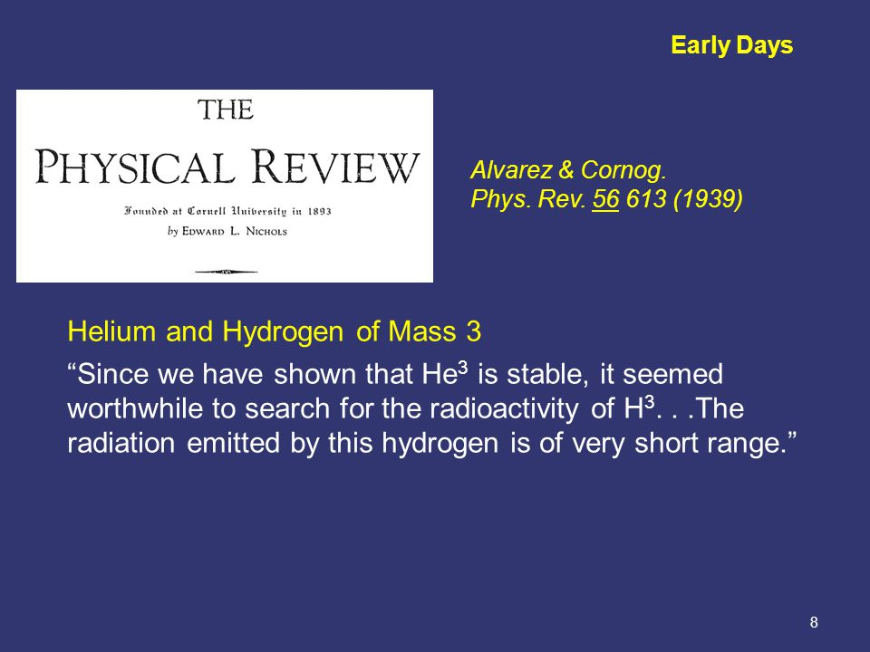 8 Early Days Helium and Hydrogen of Mass 3 Since we have shown that He 3 is stable, it seemed worthwhile to search for the radioactivity of H 3...The radiation emitted by this hydrogen is of very short range. Alvarez & Cornog.