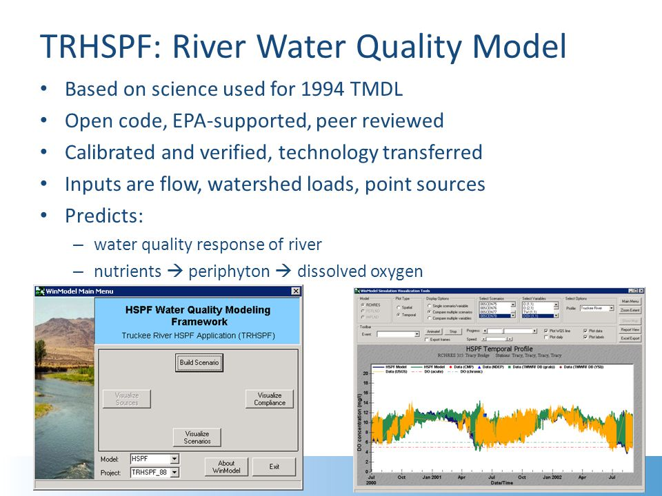 TRHSPF: River Water Quality Model Based on science used for 1994 TMDL Open code, EPA-supported, peer reviewed Calibrated and verified, technology transferred Inputs are flow, watershed loads, point sources Predicts: – water quality response of river – nutrients  periphyton  dissolved oxygen 10