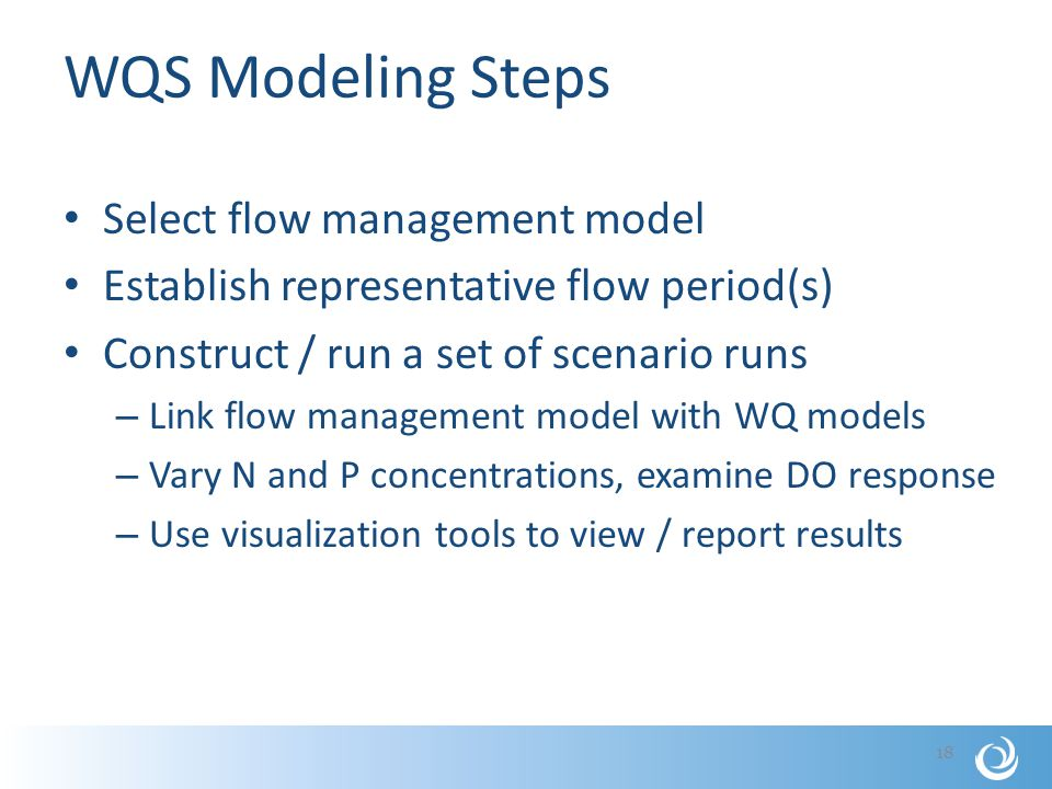 WQS Modeling Steps Select flow management model Establish representative flow period(s) Construct / run a set of scenario runs – Link flow management model with WQ models – Vary N and P concentrations, examine DO response – Use visualization tools to view / report results 18