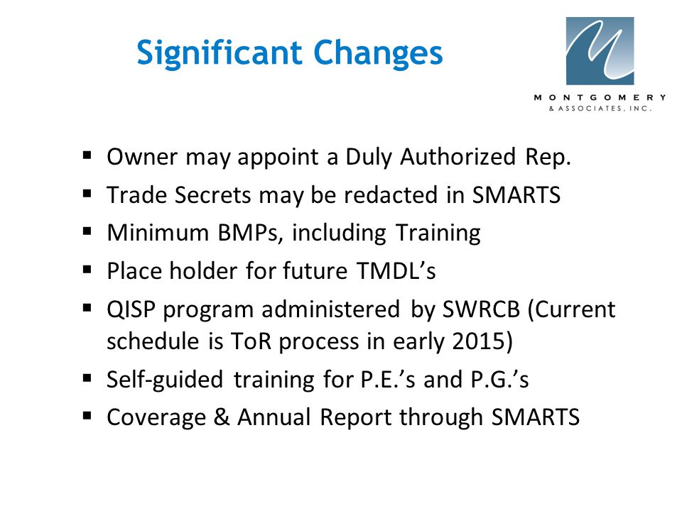 Significant Changes  Owner may appoint a Duly Authorized Rep.