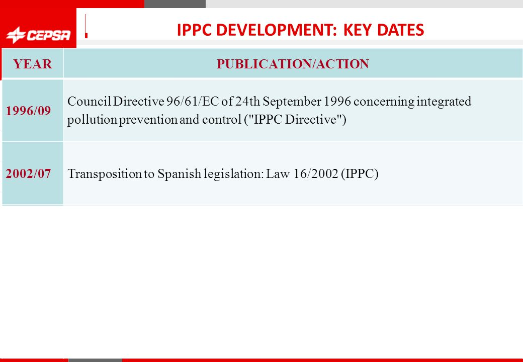 Pagina 1 de 3 CEPSA Química IPPC DEVELOPMENT: KEY DATES YEARPUBLICATION/ACTION 1996/09 Council Directive 96/61/EC of 24th September 1996 concerning integrated pollution prevention and control ( IPPC Directive ) 2002/07Transposition to Spanish legislation: Law 16/2002 (IPPC) 2003/02 Publication of Reference Document on Best Available Techniques in the Large Volume Organic Chemical Industry (LVOC BREF) 2004/01Presented documentation to Andalusia Environment Government 2005/04 Obtained Integrated Environmental Authorization (AAI) 2007/102007/10/30 Final date for Integrated Environmental Authorization (AAI)