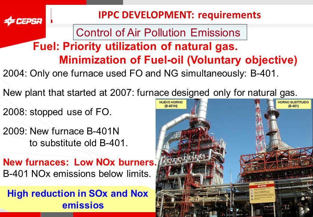 Pagina 1 de 3 CEPSA Química Control of Air Pollution Emissions QUIMICA IPPC DEVELOPMENT: requirements Fuel: Priority utilization of natural gas.