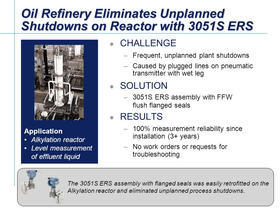 [File Name or Event] Emerson Confidential 27-Jun-01, Slide 12 Slide 12 Oil Refinery Eliminates Unplanned Shutdowns on Reactor with 3051S ERS CHALLENGE