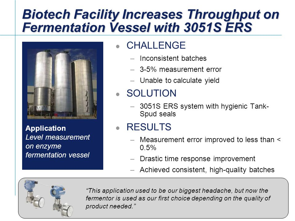 [File Name or Event] Emerson Confidential 27-Jun-01, Slide 15 Slide 15 Biotech Facility Increases Throughput on Fermentation Vessel with 3051S ERS CHA