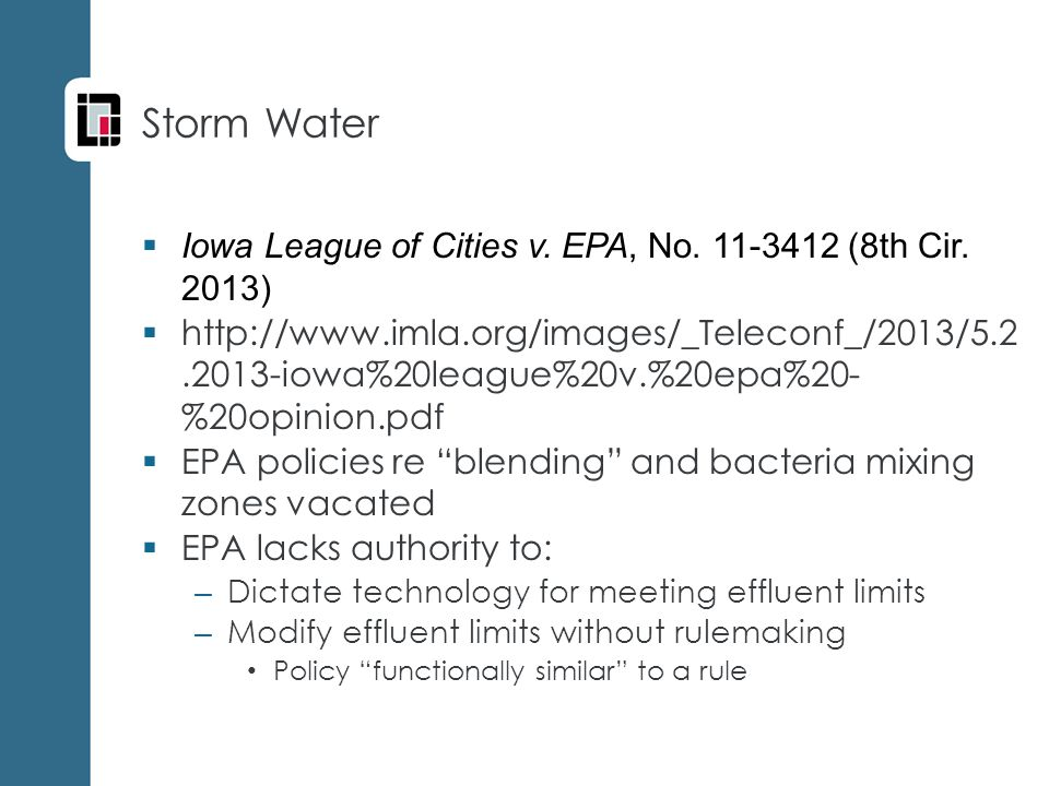 Storm Water  Iowa League of Cities v. EPA, No. 11-3412 (8th Cir.
