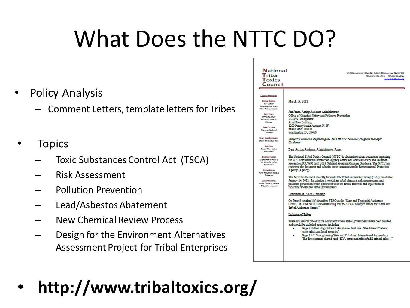 What Does the NTTC DO.
