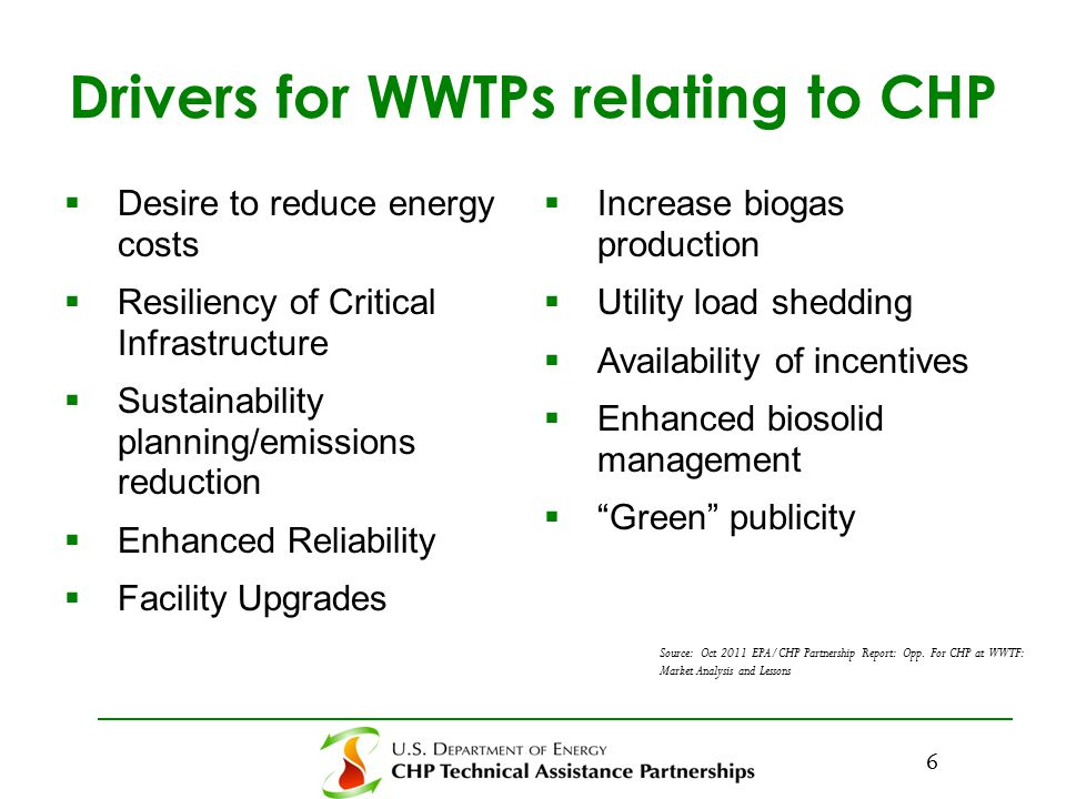 Drivers for WWTPs relating to CHP  Desire to reduce energy costs  Resiliency of Critical Infrastructure  Sustainability planning/emissions reduction  Enhanced Reliability  Facility Upgrades  Increase biogas production  Utility load shedding  Availability of incentives  Enhanced biosolid management  Green publicity Source: Oct 2011 EPA/CHP Partnership Report: Opp.