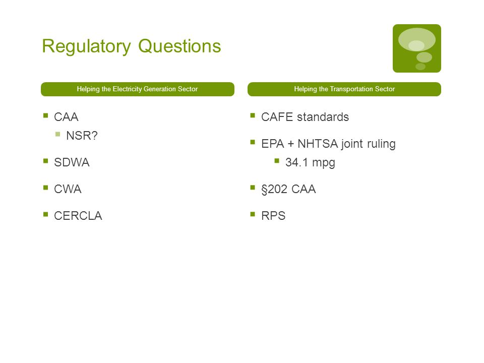 Regulatory Questions Helping the Electricity Generation Sector  CAA  NSR.
