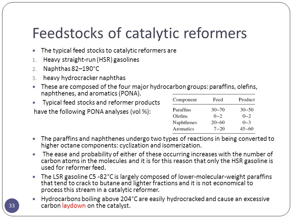Feedstocks of catalytic reformers 33 The typical feed stocks to catalytic reformers are 1. Heavy straight-run (HSR) gasolines 2. Naphthas 82–190°C 3.