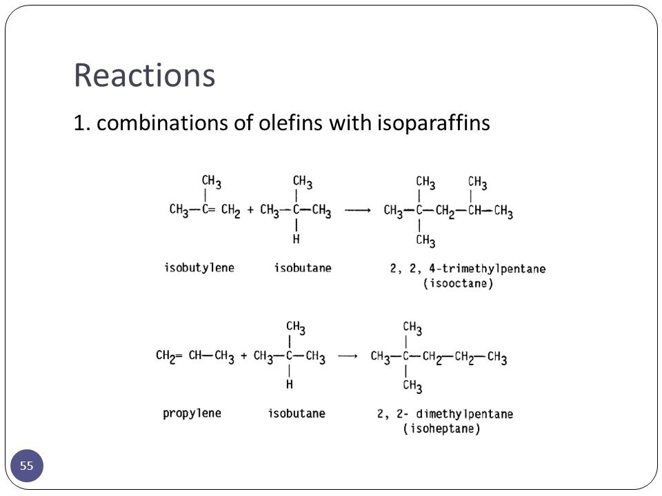 Reactions 55 1. combinations of olefins with isoparaffins