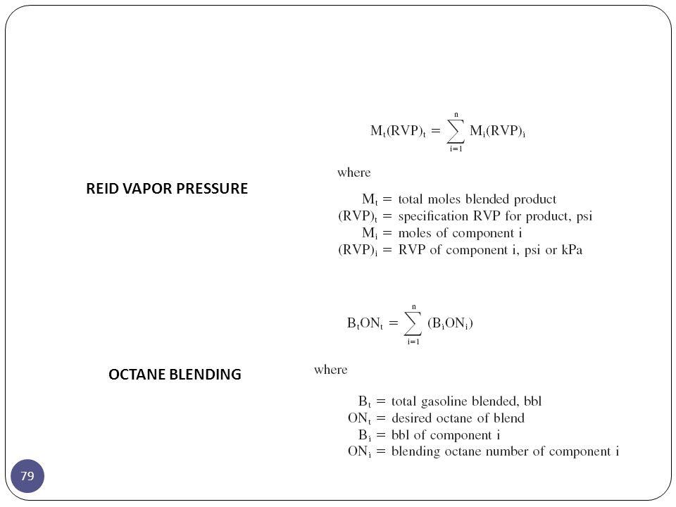 79 REID VAPOR PRESSURE OCTANE BLENDING