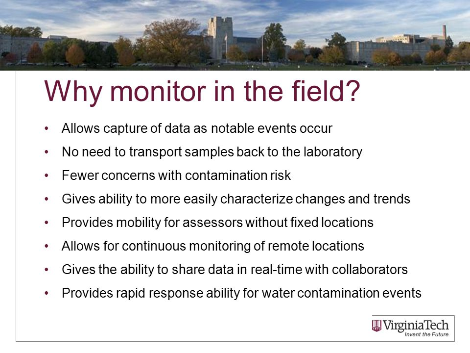 Why monitor in the field.