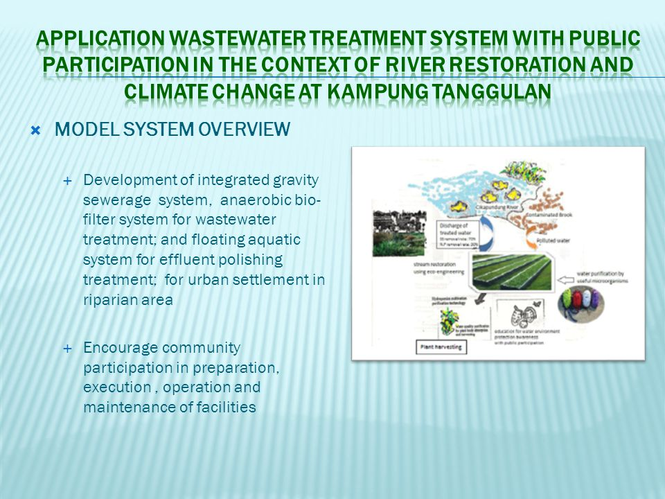  MODEL SYSTEM OVERVIEW  Development of integrated gravity sewerage system, anaerobic bio- filter system for wastewater treatment; and floating aquat