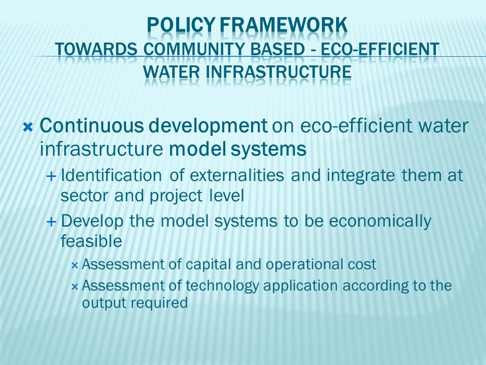 Continuous development on eco-efficient water infrastructure model systems  Identification of externalities and integrate them at sector and projec